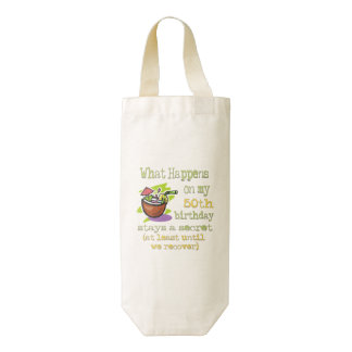50th Birthday Party Gifts. What happens on my 50th Zazzle HEART Wine Bag