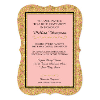 50th Birthday Party Glam Great Gatsby Style 5x7 Paper Invitation Card