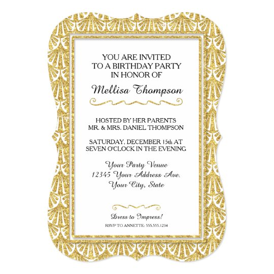 50th Birthday Party Glam Great Gatsby Style Invitation
