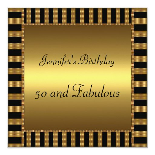 50th Birthday Party Gold Any age 5.25x5.25 Square Paper Invitation Card