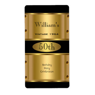 50th Birthday Party Gold Black Vintage Label 2
