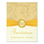 50th Birthday Party - Gold Damask with Monogram Invite