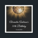 "50th Birthday Party Gold Disco Ball Paper Napkin<br><div class=""desc"">Gold 50th Birthday Party Gold Disco Ball Party Napkins. The Gold and Black 50th Birthday Party Napkins are perfect for a modern fiftieth Birthday Disco Dance Party.</div>"