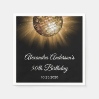 50th Birthday Party Gold Disco Ball Paper Napkin