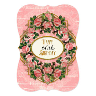 50th Birthday Party Gold Glitter Vintage Roses Card