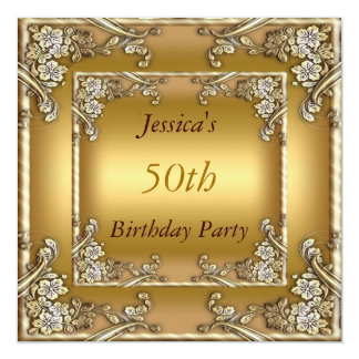 50th  Birthday Party Gold Invitation