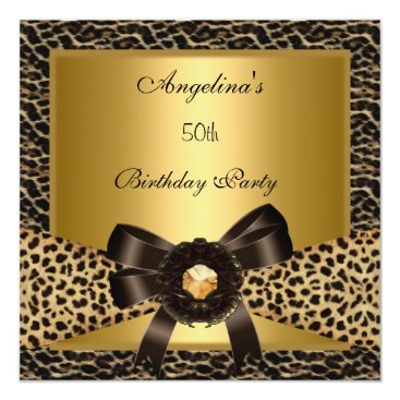 Coffee Themed 50th Birthday Party Gold Leopard Coffee Brown Card