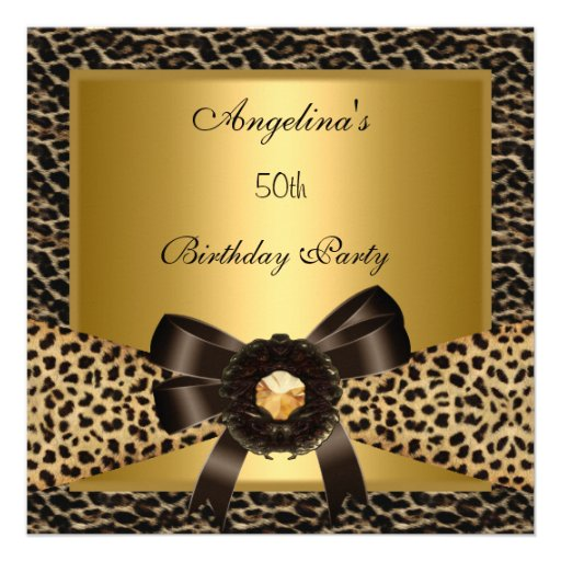 50th Birthday Party Gold Leopard Coffee Brown Custom Announcement