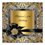 50th Birthday Party Gold Silver Black Bow 5.25x5.25 Square Paper Invitation Card