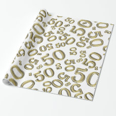 50th Birthday Party Gold/White Collage Pattern Wrapping Paper