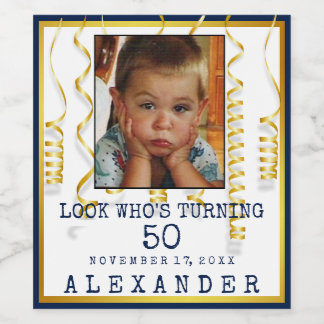50th Birthday Party Gold With Photo Change  Colors Wine Label