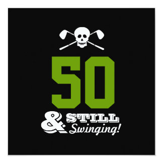 50th Birthday Party Golf - Still Swinging! Custom Card