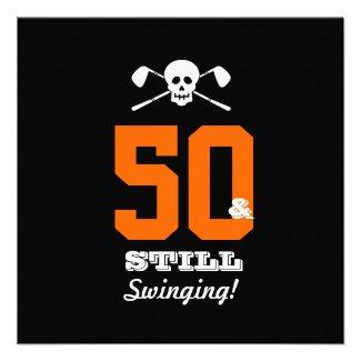 50th Birthday Party Golf - Still Swinging! Custom Announcements