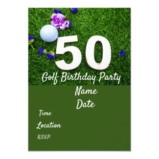 50th Birthday Party Golfer invitation with flowers