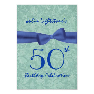 """50th Birthday Party Green and Blue Bow W1469 5"""" X 7"""" Invitation Card"""