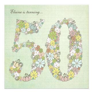 50th Birthday Party Green Blooms Custom Invitation