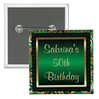 50th Birthday Party | Green Metallic & Gold Button