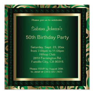50th Birthday Party | Green Metallic & Gold Card