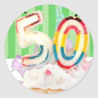 50th birthday party greeting classic round sticker