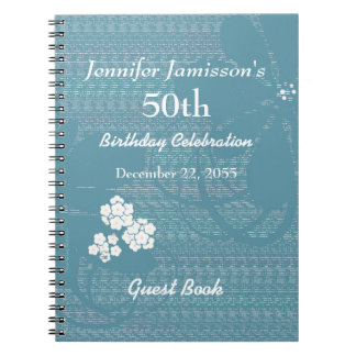 50th Birthday Party Guest Book Blue, White Floral Notebook
