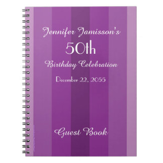 50th Birthday Party Guest Book Purple Stripe