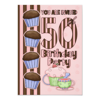50th Birthday Party Initation  - Cupcakes And 5x7 Paper Invitation Card