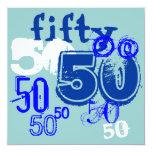 50th Birthday Party 5.25x5.25 Square Paper Invitation Card
