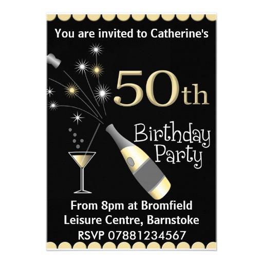 "50th Birthday Party Invitation 5"" X 7"" Invitation Card | Zazzle"