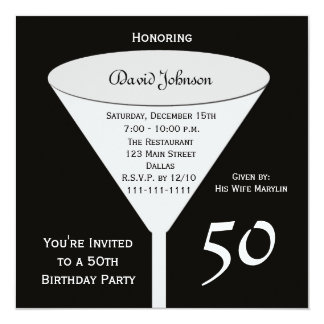 50th Birthday Party Invitation -- 50 in Black