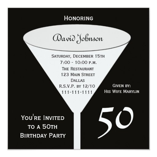 50th Birthday Party Invitation -- 50 in Black