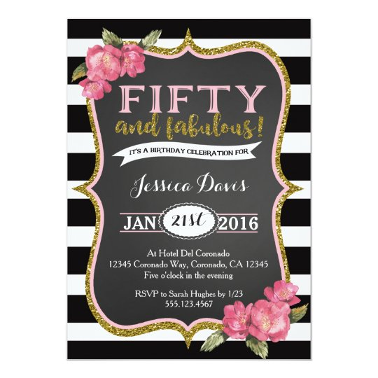 50th birthday party invitation adult fifty invite | zazzle, Birthday invitations