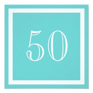 """50th Birthday Party Invitation - Aqua 5.25"""" Square Invitation Card"""