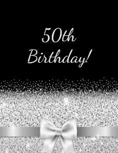Silver 50th birthday invitations zazzle 50th birthday party invitation black silver bow filmwisefo