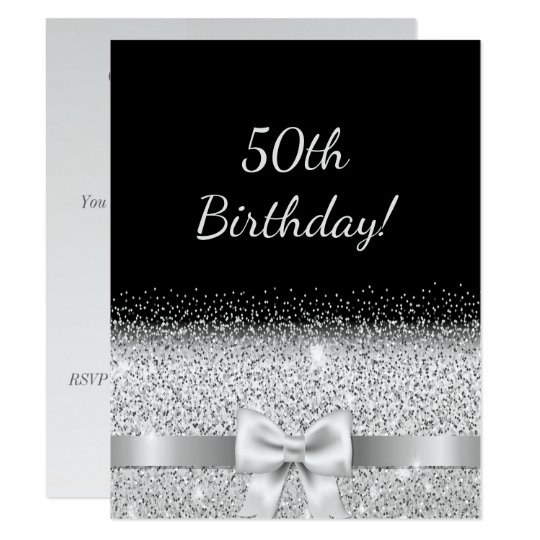 50th Birthday Party Invitation Black Silver Bow