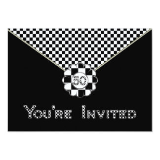 50TH BIRTHDAY PARTY INVITATION - BLK/WHT ENVELOPE