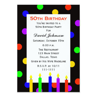 50th Birthday Party Invitation Candles and Dots