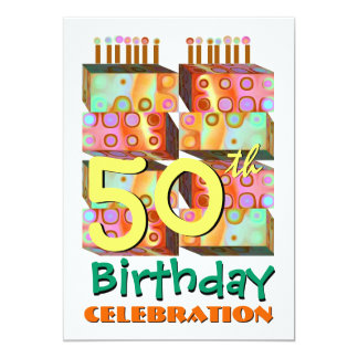 50th Birthday Party Invitation Candles & Gifts