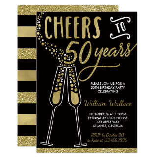 50th Birthday Party Invitation, Gold, Black Card