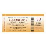 50th Birthday Party Invitation Golden Ticket