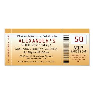 "50th Birthday Party Invitation Golden Ticket 4"" X 9.25"" Invitation Card"