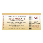 "50th Birthday Party Invitation Goldtone Ticket 4"" X 9.25"" Invitation Card"