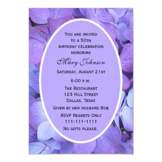 50th Birthday Party Invitation -- Hydrangea Announcements