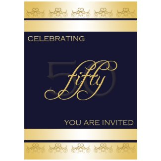 50th Birthday Party Invitation in Blue invitation