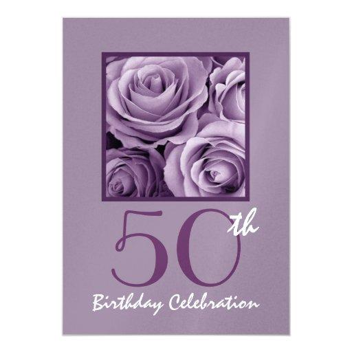 50th Birthday Party Invitation Lilac Purple Roses