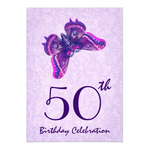 50th Birthday Party Invitation Purple Butterfly 5