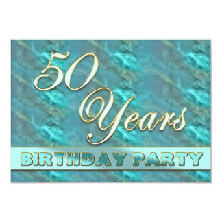 "50th Birthday Party Invitation - Teal/Gold/Marble 5"" X 7"" Invitation Card"