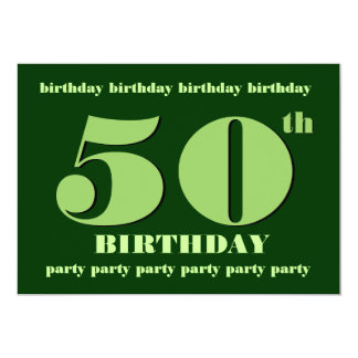 50th Birthday Party Invitation Template Green