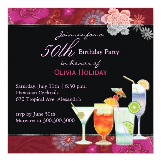 50th Birthday Party Invitation:Tropical Cocktails