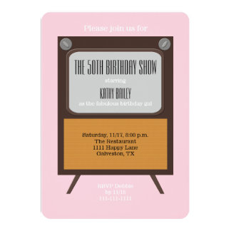 50th Birthday Party Invitation TV on Pink