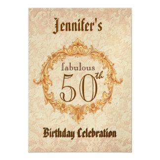 50th Birthday Party Invitation Vintage Gold Frame